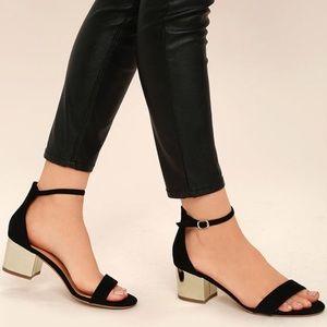 Black Gold Ankle Strap Block Heels Size 7.5